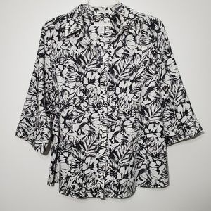 Chico's size 2 button down shirt Floral No Iron
